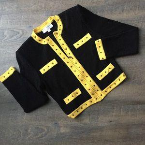 St. John Black and Yellow full zip cardigan top